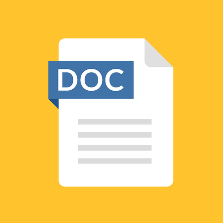 DOC file icon. Text document type. Modern flat design graphic illustration. Vector DOC icon
