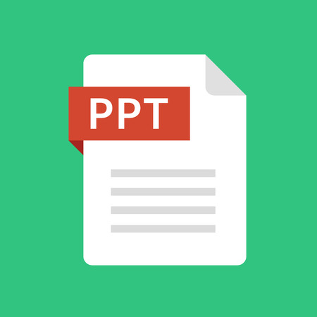 PPT file icon. Presentation document type. Modern flat design graphic illustration. Vector PPT icon 向量圖像