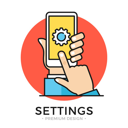 Settings on smartphone screen. Hand holding cellphone, user touching gear icon. Illustration