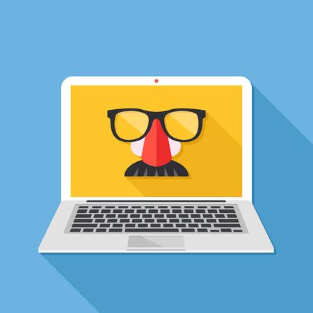Internetprivacy, online samenzwering, privé browsen, incognitomodus, anonieme webbrowsing-concepten. Vermomming masker op laptop scherm. Lang schaduwontwerp. Creatieve platte ontwerp vectorillustratie