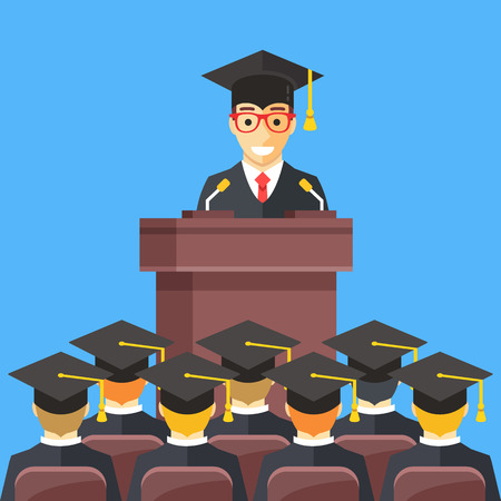 Man at lectern wearing graduation gown, mortarboard in auditorium. People wearing mortar boards sitting in room. Graduation, admitting university degree concept. Modern flat design vector illustration Illustration