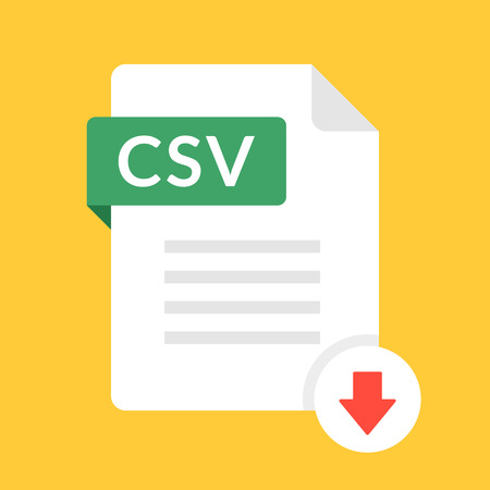 Download CSV icon. File with CSV label and down arrow sign. Comma-separated values. Downloading document concept. Flat design vector icon.