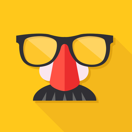 fake nose and glasses: Disguise mask. Mask with glasses fake nose and mustache. Vector illustration Illustration