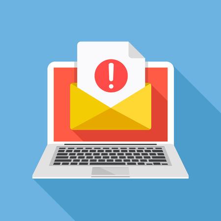 Computer portatile con busta e documento con punto esclamativo sullo schermo. Ricevi notifiche, avvisi, avvisi, e-mail, e-mail, concetti di spam. Illustrazione vettoriale di design piatto Vettoriali