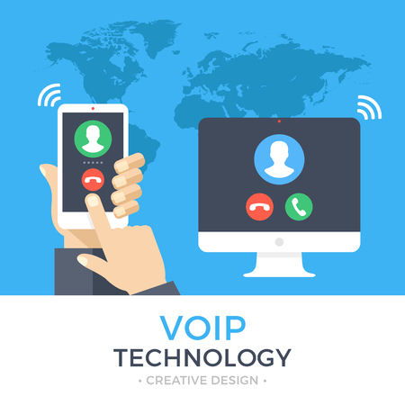 Tecnología VoIP, voz sobre IP, concepto de telefonía IP. Mano que sostiene el teléfono inteligente con llamada saliente, computadora con llamada entrante en la pantalla. Banner de llamadas por Internet. Ilustración de vector de moderno diseño plano Ilustración de vector