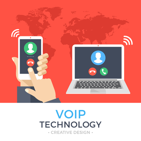 VoIP technology, voice over IP, IP telephony concept. Hand holding smartphone with outgoing call, laptop with incoming call on screen. Internet calling banner. Modern flat design vector illustration