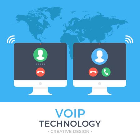 VoIP, voz sobre IP, concepto de telefonía IP. Dos PC. Ordenador con llamada saliente y equipo con llamada entrante en la pantalla. Banner de la llamada de Internet. Moderno diseño plano ilustración vectorial