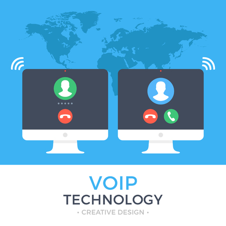 VoIP technology, voice over IP, IP telephony concept. Two PC. Computer with outgoing call and computer with incoming call on screen. Internet calling web banner. Modern flat design vector illustration