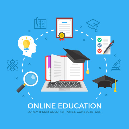 Online education flat illustration concept. Laptop with book and graduation hat. Creative flat icons set, thin line icons set. Modern vector illustration Ilustração