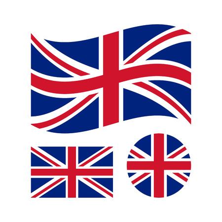 Great britain flag set. Rectangular, waving and circle Union Jack flag. UK, british national symbol. Vector icons Stock Illustratie