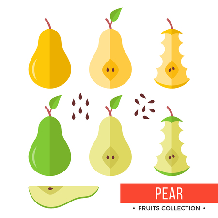 Green, yellow whole pear and parts, slices, seeds, leaves, core. Set of fruits. Flat design graphic elements. Vector illustration.