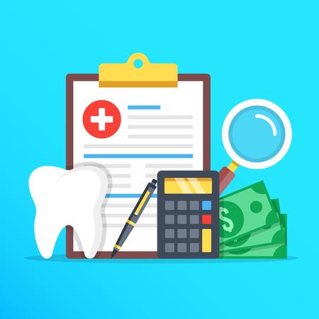 Tandheelkundige zorg concept omvat tandheelkundige vorm, tand, rekenmachine, pen, geld en vergrootglas in platte ontwerp grafische elementen instellen.