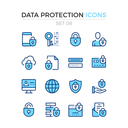 Data protection icons. Vector line icons set. Premium quality. Simple thin line design. Modern outline symbols, pictograms Banco de Imagens - 88073929
