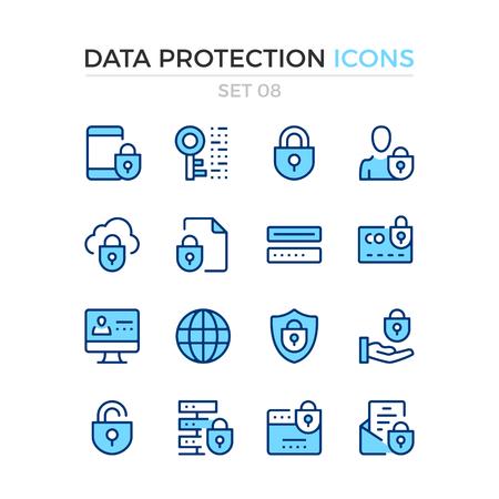 Pictogrammen voor gegevensbescherming. Vector lijn pictogrammen instellen. Premium kwaliteit. Eenvoudig dun lijnontwerp. Moderne contoursymbolen, pictogrammen
