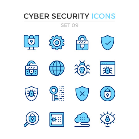 Cyber security icons. Vector line icons set. Premium quality. Simple thin line design. Modern outline symbols, pictograms