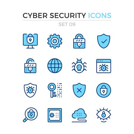 Symbole für Cyber-Sicherheit. Vektorlinie Ikonen eingestellt. Premium Qualität. Einfaches Design der dünnen Linie. Moderne Gliederungssymbole, Piktogramme Vektorgrafik