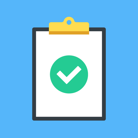 accomplish: Clipboard and check mark. Clip board and green round icon with checkmark, tick. Completed task, job is done concepts. Modern flat design graphic elements. Vector illustration