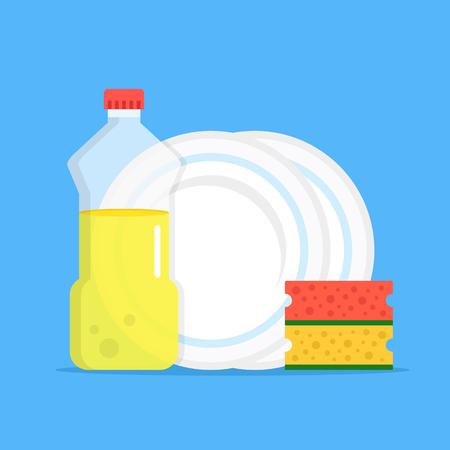 Dishwashing. Dishwashing liquid, kitchen sponges and dishes. Modern flat design graphic elements. Vector illustration Illustration