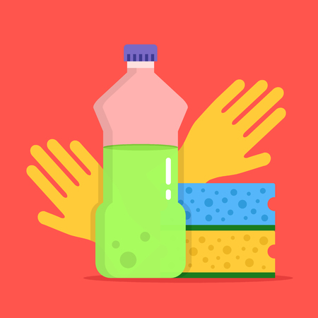 dishwashing liquid: Dishwashing. Plastic bottle with dishwashing detergent, kitchen sponges and cleaning gloves in flat design Vector illustration