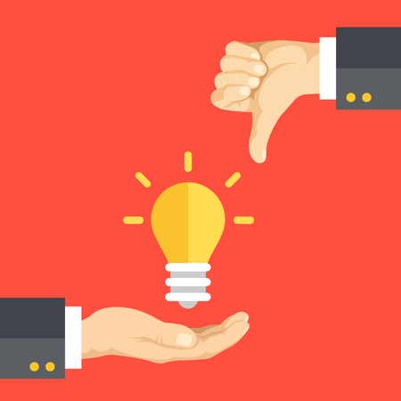 Hand holding light bulb, hand with thumbs down. Bad idea, bad solution, creativity issues, dislike concepts. Flat design graphic elements. Vector illustration