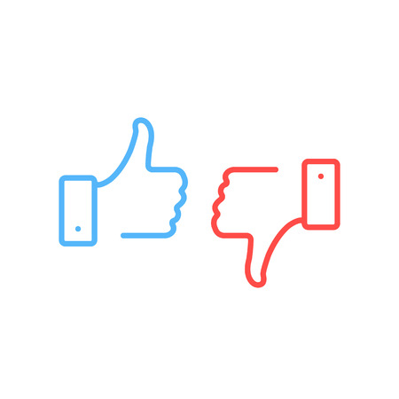 Thumbs up and thumbs down icons.