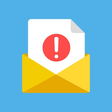 エンベロープと感嘆符を持つドキュメント。受信した新しい電子メール、電子メール、スパム、通知の概念。
