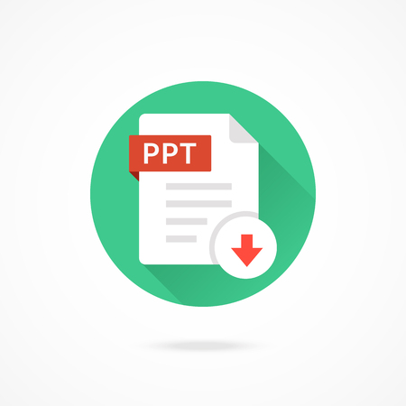 ppt: Download PPT icon. Download document. Vector round icon with long shadow design