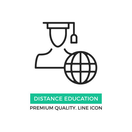 Vector distance education icon. Student with graduation hat and earth globe. Premium quality graphic design elements. Modern sign, linear pictogram, object, outline symbol, simple thin line icon