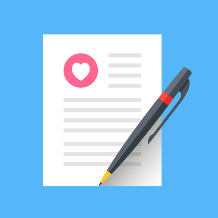 Love letter. Marriage contract, wedding invitation. Sheet of paper and pen. Writing a love letter concept. Document with heart shape. Modern flat design vector icon