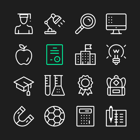 Education line icons. Modern graphic elements, simple outline thin line design symbols. Illustration