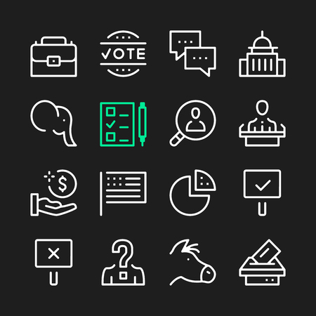 Government line icons. Modern graphic elements, simple outline thin line design symbols.