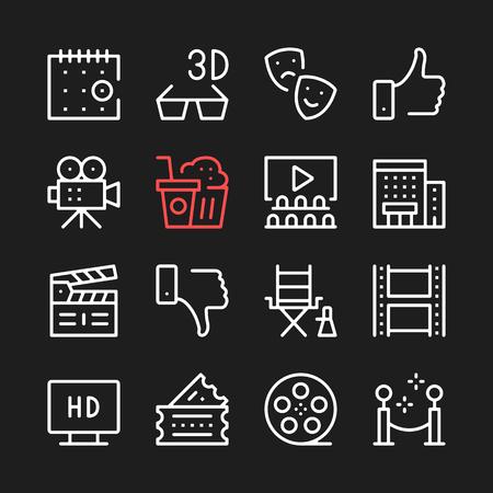 Movie, film production line icons. Modern graphic elements, simple outline thin line design symbols.