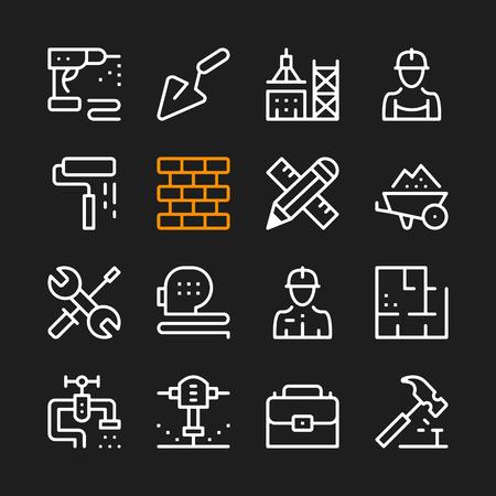 Construction line icons. Modern graphic elements, simple outline thin line design symbols.