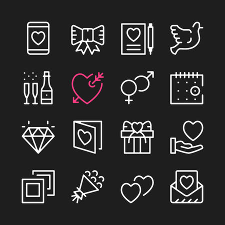 Love Line Icons Modern Graphic Elements Simple Outline Thin