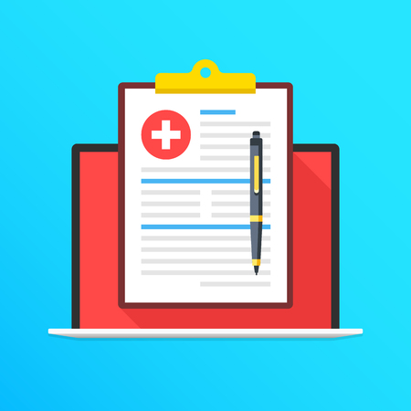 Health insurance on laptop screen. Notebook and clipboard with medical record and pen. Filling application form concepts. Modern long shadow flat design graphic elements. Vector illustration Çizim