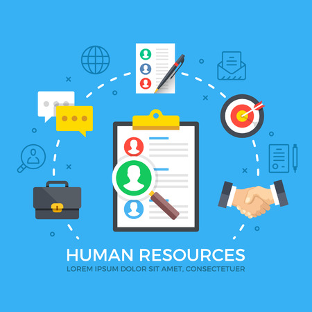 Human resources. Modern flat design style graphic elements. Thin line icons set and flat icons set. Premium quality. Vector illustration