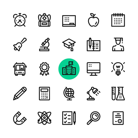 Education line icons set. Modern graphic design concepts, simple outline elements collection. 32x32 px. Pixel perfect. Vector line icons  イラスト・ベクター素材