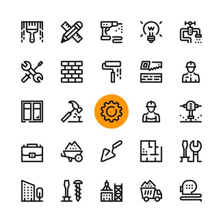Budowa, zestaw ikon narzędzi linii. Nowoczesne koncepcje graficzne, kolekcja prostych elementów konturu. 32x32 piksele. Doskonały co do piksela. Wektorowe ikony linii