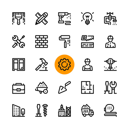 Construction, tools line icons set. Modern graphic design concepts, simple outline elements collection. 32x32 px. Pixel perfect. Vector line icons