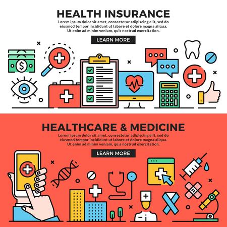 Conjunto de banners web de seguro de salud, salud y medicina Conceptos de arte lineal. Elementos gráficos creativos modernos de diseño plano, iconos de líneas, símbolos lineales, plantillas. Ilustración vectorial
