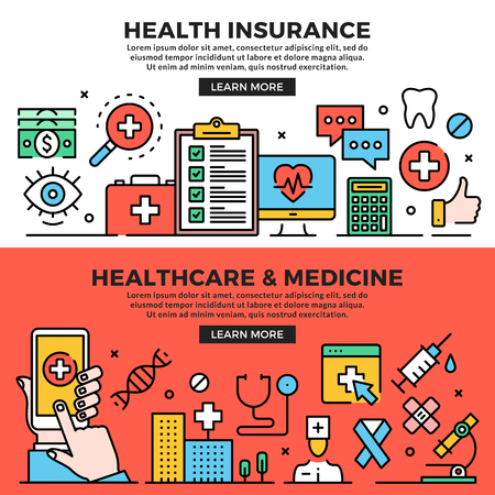 Health insurance, healthcare and medicine web banners set. Line art concepts. Creative modern flat design outline graphic elements, line icons, linear symbols, templates. Vector illustration Ilustração