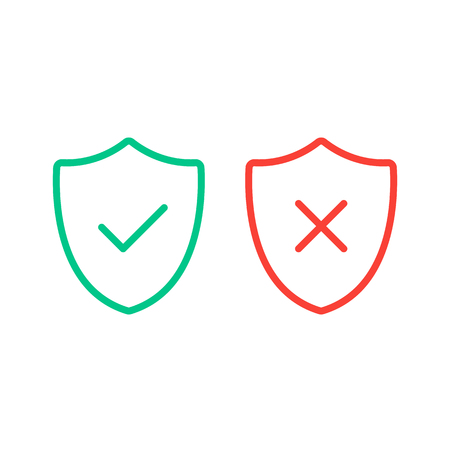 Thin line shields with check mark icons. Outline shields with green tick and red cross check marks flat line icons set. Vector illustration isolated on white background.