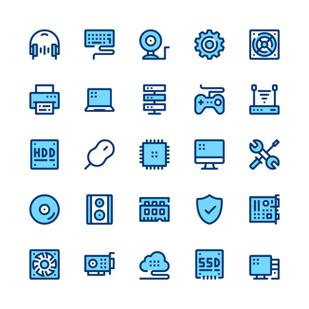 Computer hardware, PC parts line icons set. Modern graphic design concepts, simple symbols, pictograms collection. Minimal thin line design. Premium quality. Pixel perfect. Vector outline icons