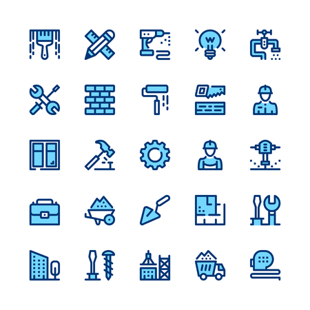 Construction, repair tools line icons set. Modern graphic design concepts, simple symbols, pictograms collection. Minimal thin line design. Premium quality. Pixel perfect. Vector outline icons Vettoriali