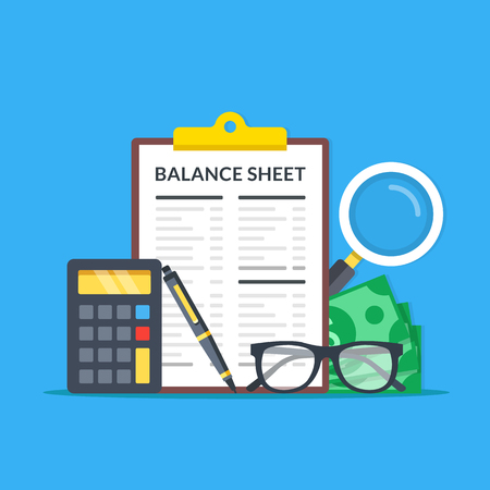 Accounting, financial statement, audit concepts. Balance sheet clipboard, magnifying glass, money, glasses, calculator and pen. Modern flat design graphic elements. Vektorové ilustrace