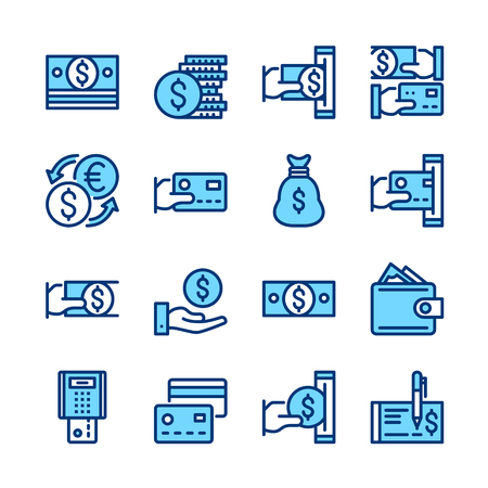 Money line icons. Modern graphic elements, simple symbols collection. Minimal thin line design. Pixel perfect. Vector outline icons set.