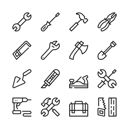 Tools line icons set. Modern graphic design concepts, simple outline elements collection. Vector line icons Stock Illustratie