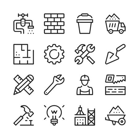 Construction line icons set. Modern graphic design concepts, simple outline elements collection. Vector line icons Ilustração