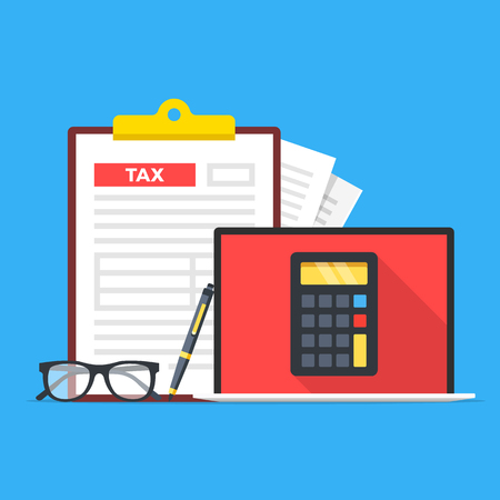 Tax accounting, tax services. Laptop with calculator on screen, glasses, pen and clipboard with tax form. Modern concept. Flat design. Vector illustration Vektorové ilustrace