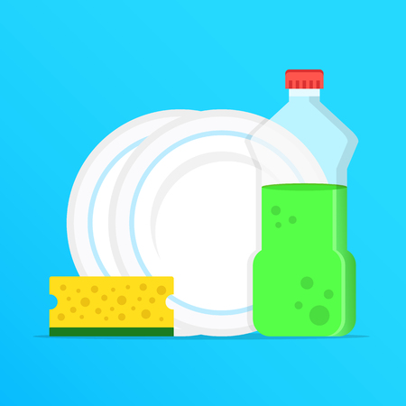 Dishwashing, washing dishes. Dishwashing liquid, dishes and yellow sponge. Modern graphic elements. Flat design. Vector illustration
